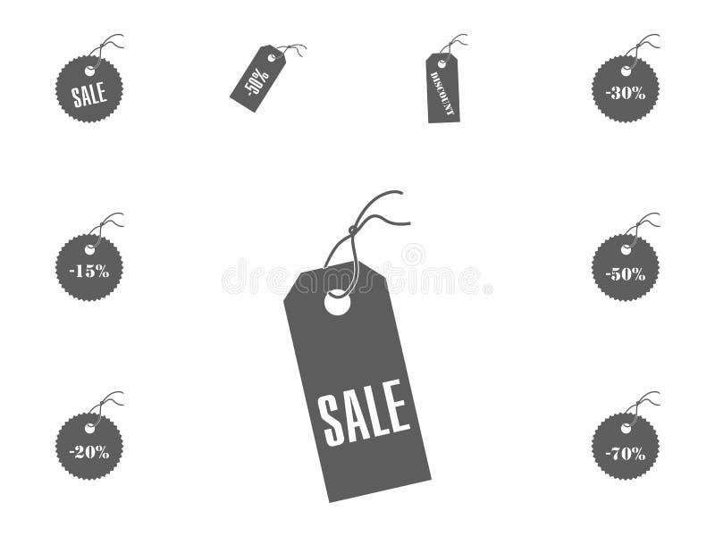 Ícone da venda Ícones da ilustração do vetor da venda e do disconto ajustados fotografia de stock