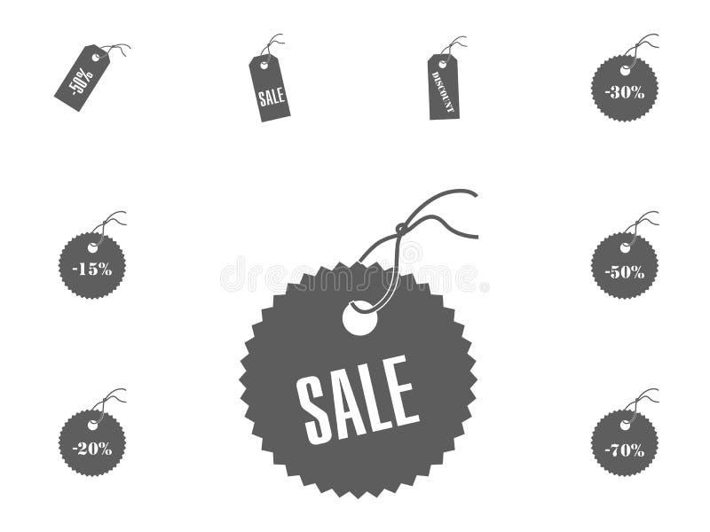 Ícone da venda Ícones da ilustração do vetor da venda e do disconto ajustados imagens de stock royalty free