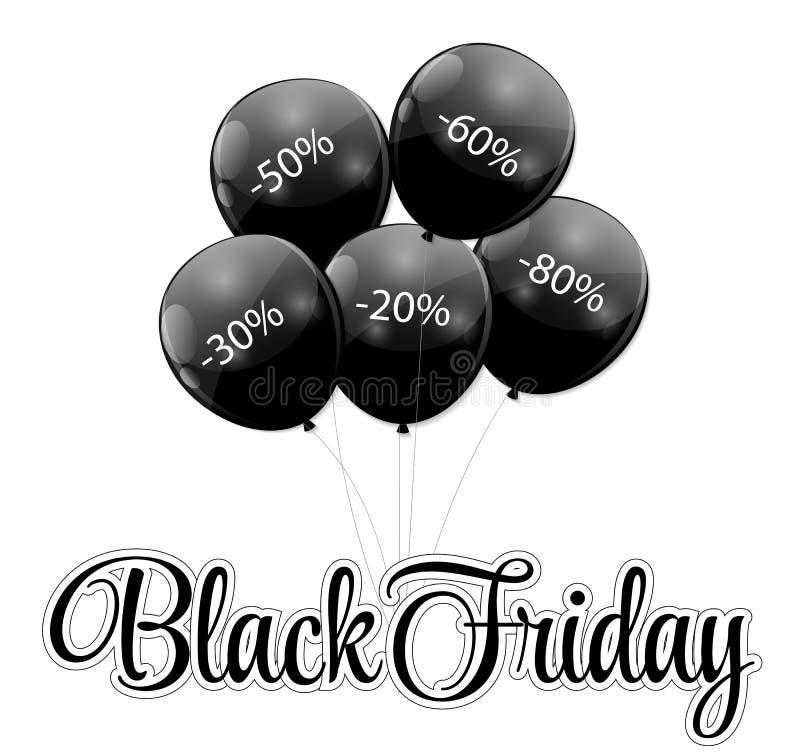 Ícone da venda de Black Friday com ilustração do vetor dos balões ilustração stock