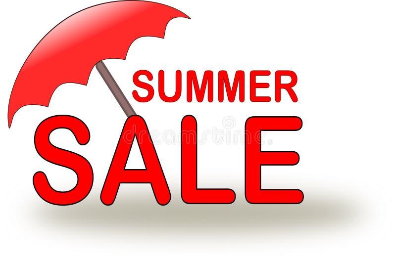 Ícone da venda do verão com o guarda-chuva de praia vermelho ilustração royalty free