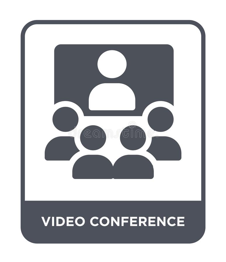 ícone da videoconferência no estilo na moda do projeto Ícone da videoconferência isolado no fundo branco Ícone do vetor da videoc ilustração royalty free