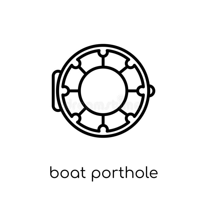 Ícone da vigia do barco Barco linear liso moderno na moda Portho do vetor ilustração do vetor