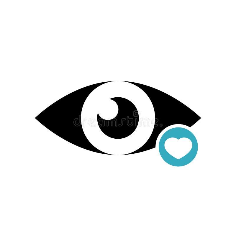 Ícone da vista com sinal do coração Veja o ícone e o favorito, como, amor, símbolo do cuidado ilustração royalty free