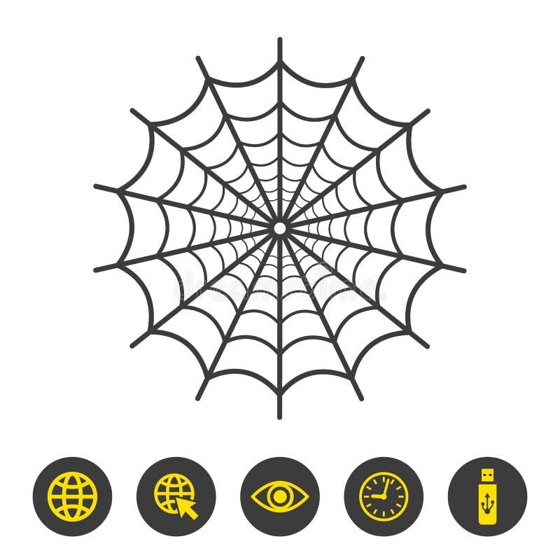 Ícone da Web de aranha no fundo branco ilustração royalty free