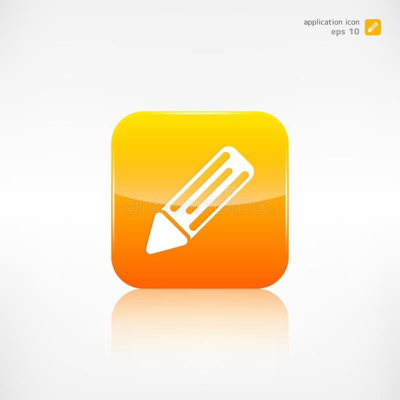 Ícone da Web do lápis botão da aplicação ilustração stock