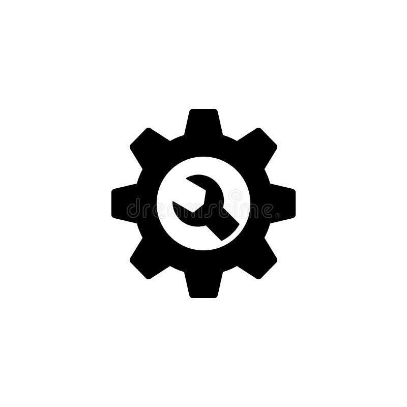 Ícone da Web dos ajustes da roda denteada e da chave Engrenagem e de manutenção e de serviço da chave inglesa ícone para Web site ilustração stock