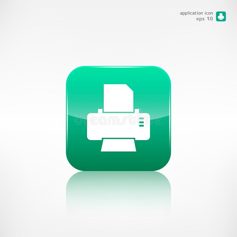 Ícone da Web da impressora botão da aplicação ilustração royalty free