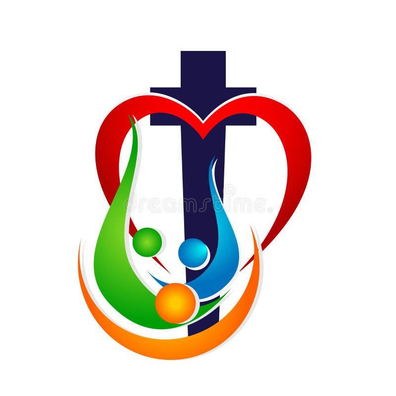 Ícone dado forma do logotipo da união do amor da igreja da família coração vermelho ilustração royalty free