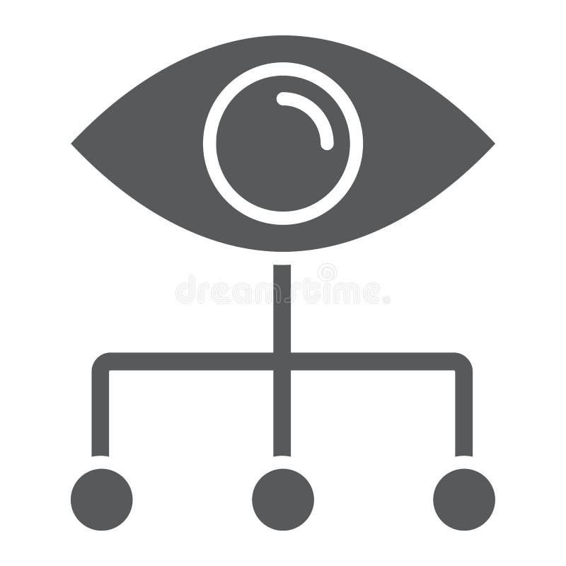 Ícone, dados e analítica do glyph do visualização dos dados ilustração stock