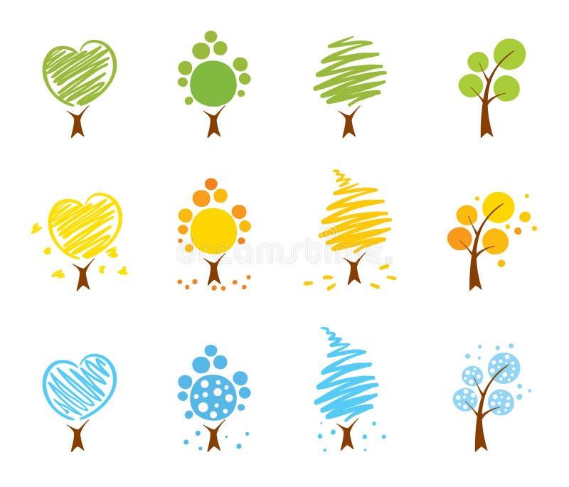 Ícone das árvores ajustado (verão, inverno, outono) ilustração stock