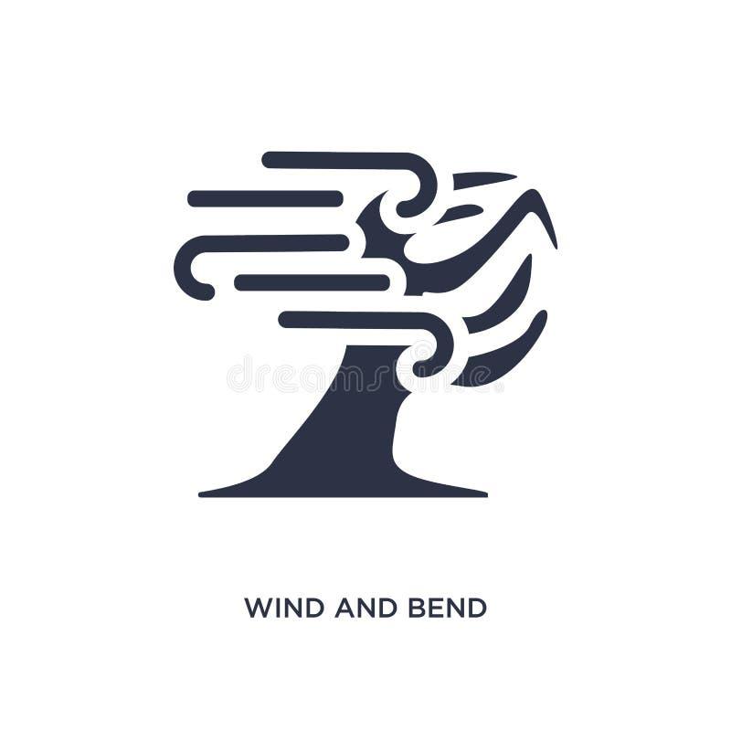 ícone das árvores do vento e da curvatura no fundo branco Ilustração simples do elemento do conceito da meteorologia ilustração royalty free