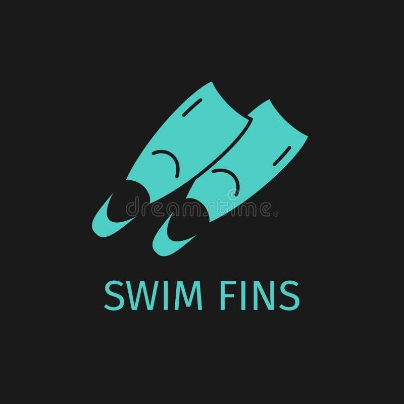 Ícone das aletas de nadada ilustração stock