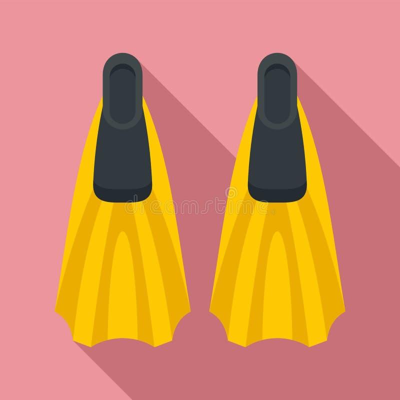 Ícone das aletas do mergulhador, estilo liso ilustração royalty free
