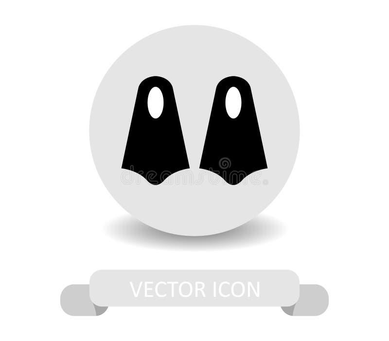 Ícone das aletas do mergulho ilustração stock