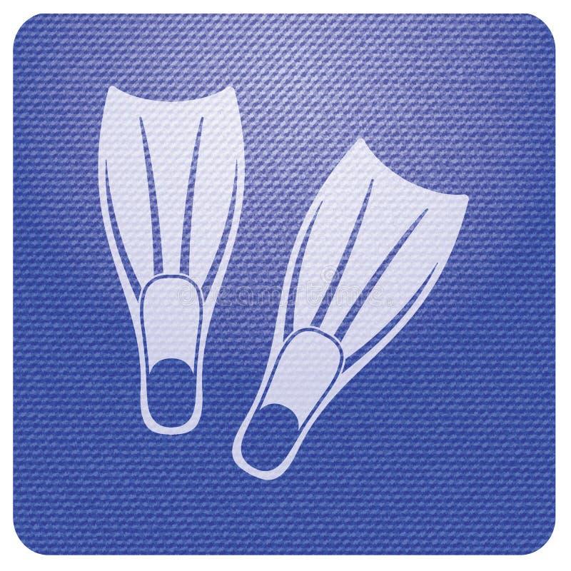 Ícone das aletas do mergulho ilustração royalty free