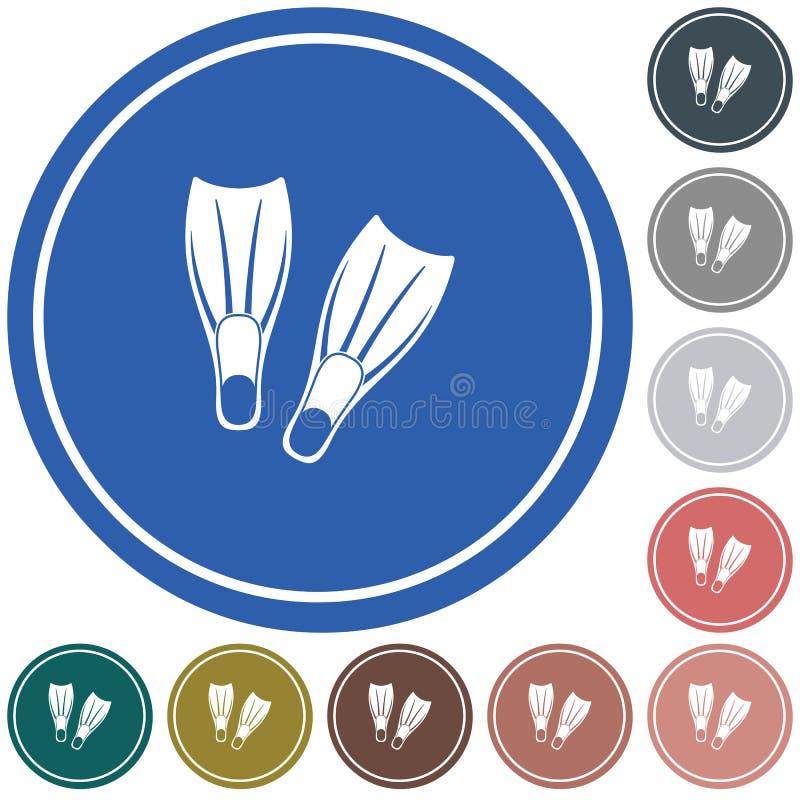 Ícone das aletas do mergulho ilustração do vetor