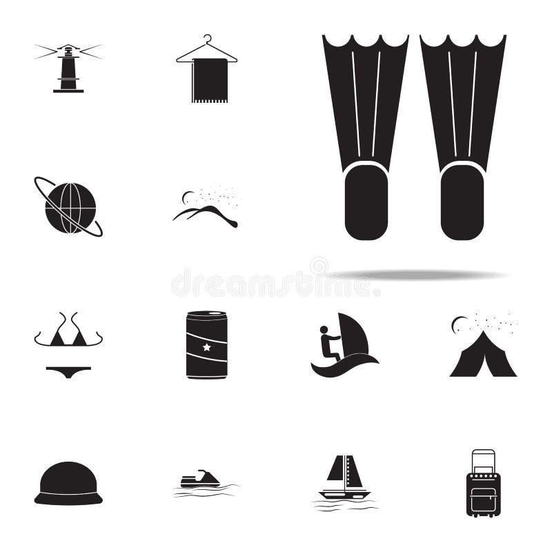 Ícone das aletas do mergulho grupo universal dos ícones do prazer do verão para a Web e o móbil ilustração stock