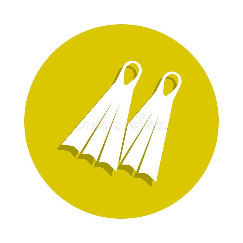 ícone das aletas no estilo do crachá Um do ícone da coleção da praia do sheashell pode ser usado para UI, UX ilustração royalty free