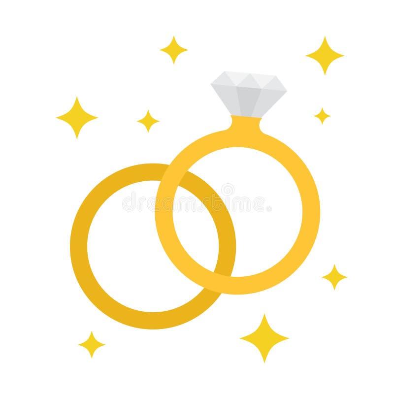 Ícone das alianças de casamento ilustração stock