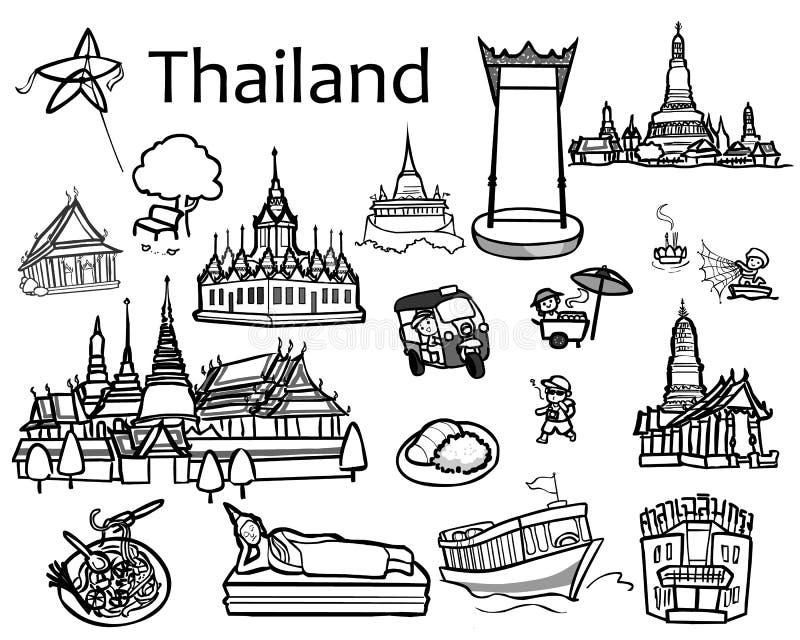 Ícone das atrações de Tailândia e ilustração royalty free