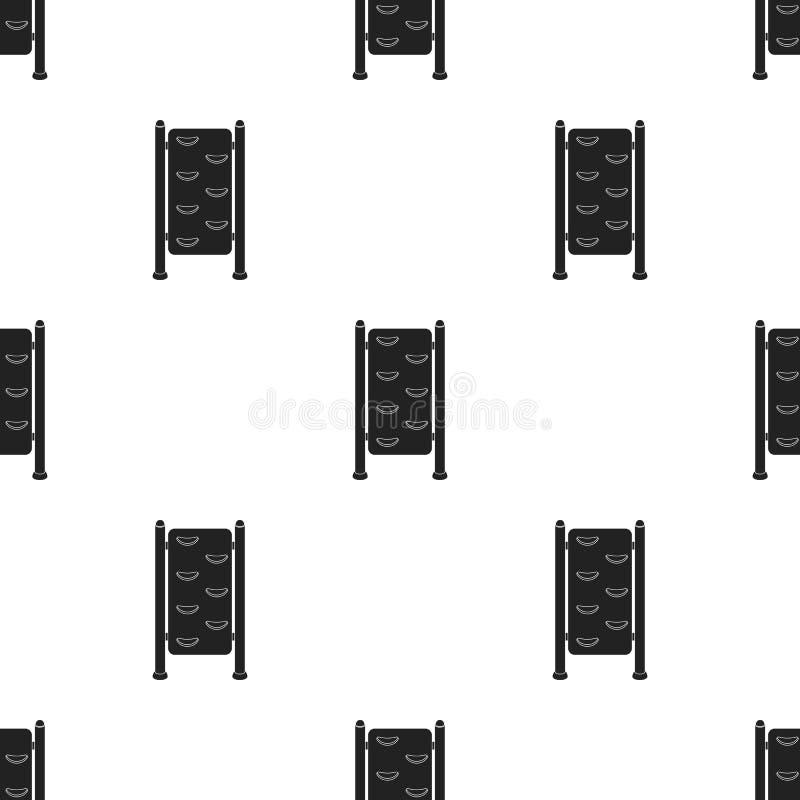 Ícone das barras de parede da ginástica no estilo preto isolado no fundo branco Ilustração do vetor do estoque do teste padrão do ilustração royalty free