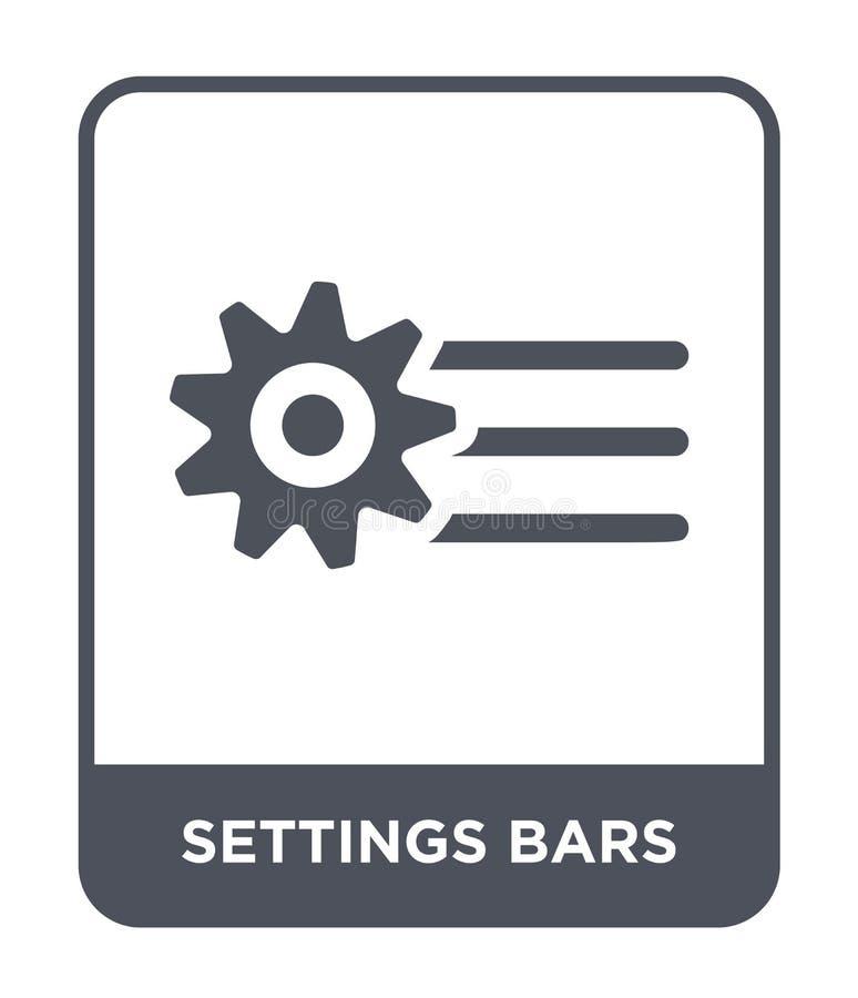 ícone das barras dos ajustes no estilo na moda do projeto ícone das barras dos ajustes isolado no fundo branco ícone do vetor das ilustração stock