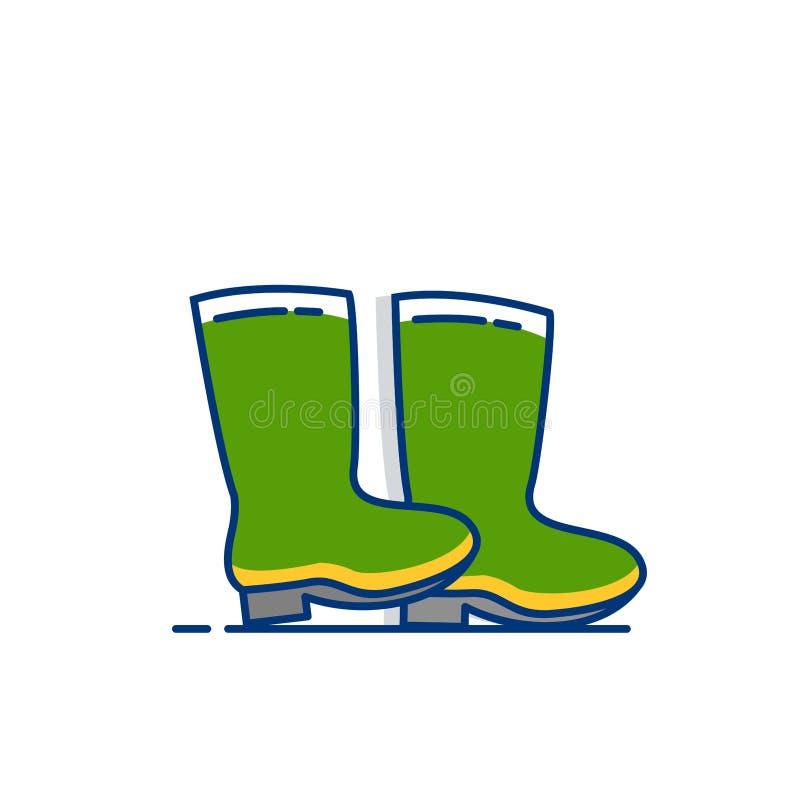 Ícone das botas de borracha - com estilo enchido esboço ilustração do vetor