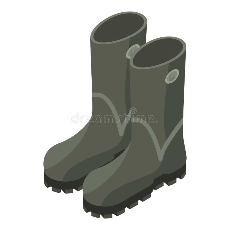 Ícone das botas de borracha do caçador, estilo isométrico ilustração stock