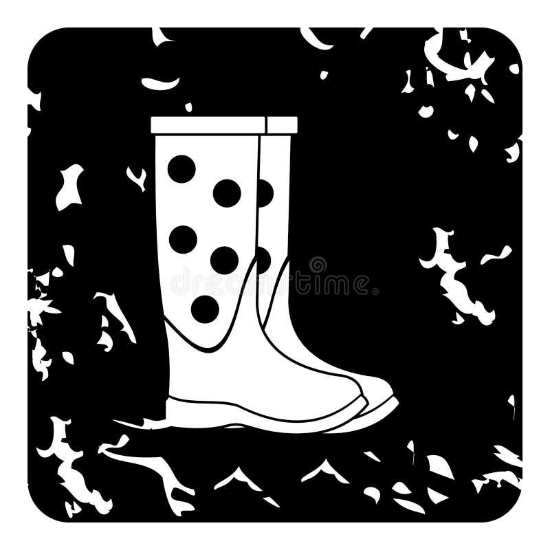 Ícone das botas de borracha, estilo do grunge ilustração do vetor