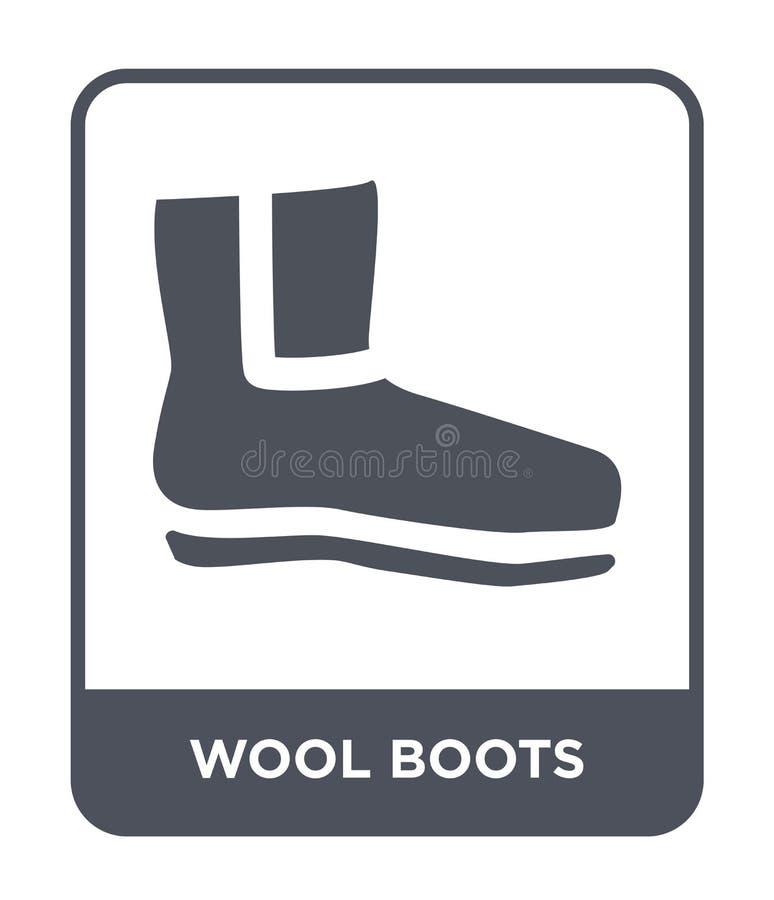 ícone das botas de lãs no estilo na moda do projeto ícone das botas de lãs isolado no fundo branco ícone do vetor das botas de lã ilustração do vetor