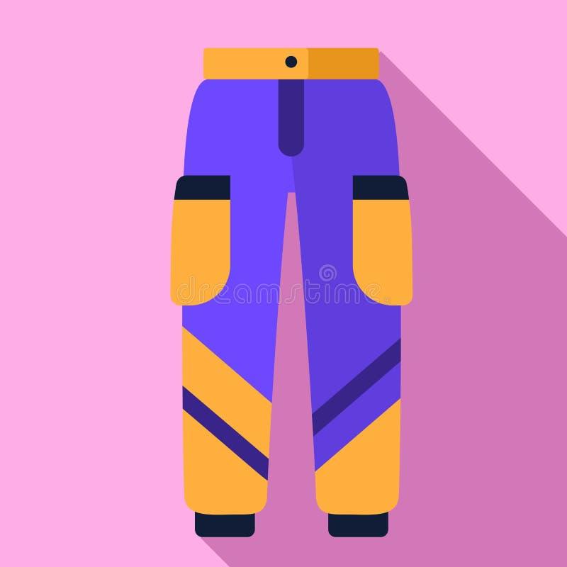 Ícone das calças do esqui, estilo liso ilustração stock