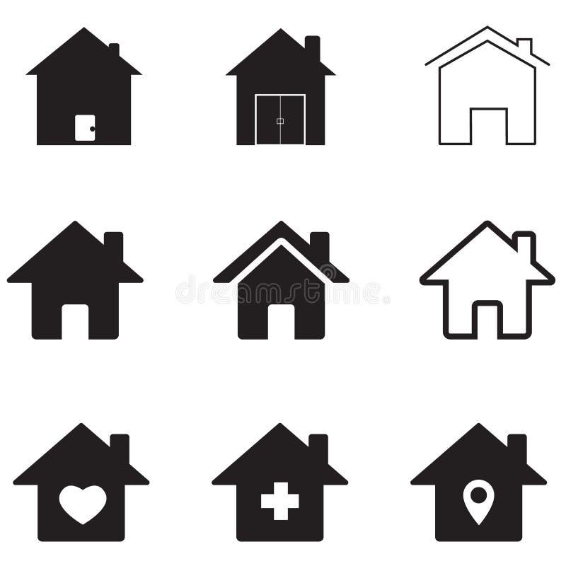 Ícone das casas no fundo branco Estilo liso ícone para seu projeto do site, logotipo das casas, app, UI S?mbolo dos bens imobili? ilustração do vetor
