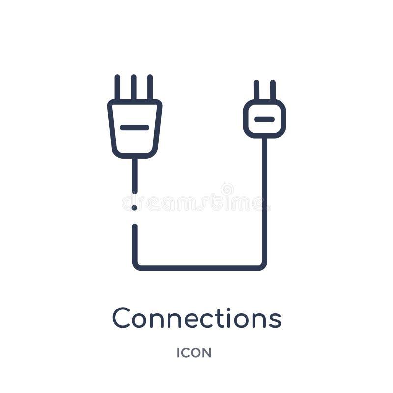 Ícone das conexões lineares da coleção do esboço das conexões de Electrian Linha fina vetor das conexões isolado no fundo branco ilustração royalty free