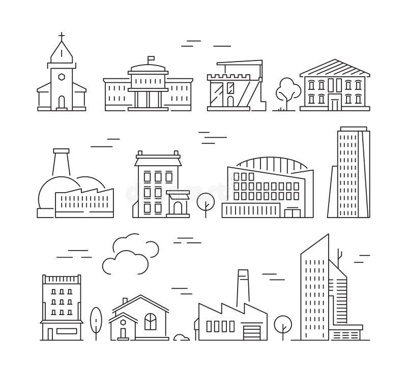 Ícone das construções da cidade Grupo linear das imagens do vetor urbano das paredes de exterior das salas de visitas da fábrica  ilustração stock
