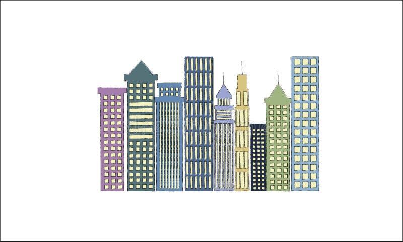 Ícone das construções de uma cena da arquitetura da cidade ilustração do vetor