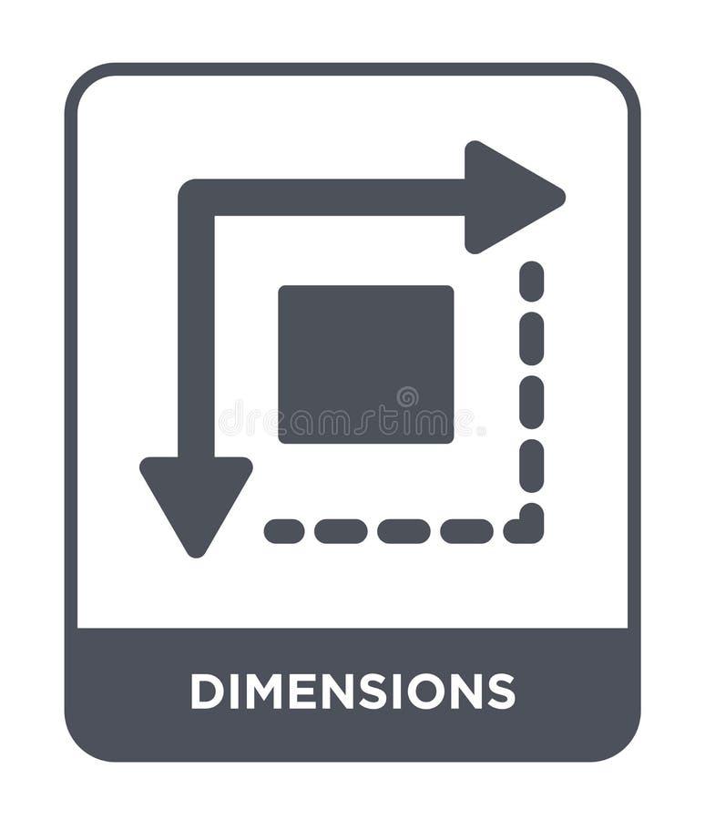 ícone das dimensões no estilo na moda do projeto Dimensiona o ícone isolado no fundo branco ícone do vetor das dimensões simples  ilustração do vetor