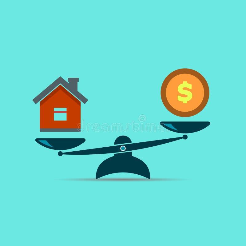 Ícone das escalas do dinheiro e da casa  Venda dos bens imobiliários  ilustração royalty free