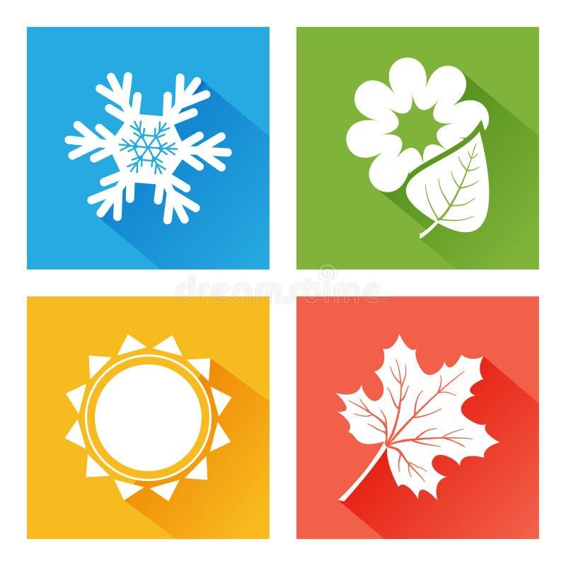Ícone das estações Grupo de natureza inverno azul com floco de neve, mola verde com flor e folha, verão amarelo com sol, outono a ilustração do vetor