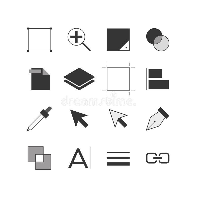 Ícone das ferramentas do ilustrador ajustado em preto e branco ilustração stock