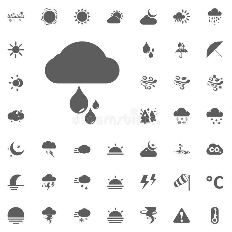 Ícone das gotas da nuvem e da chuva Resista aos ícones ajustados ilustração royalty free