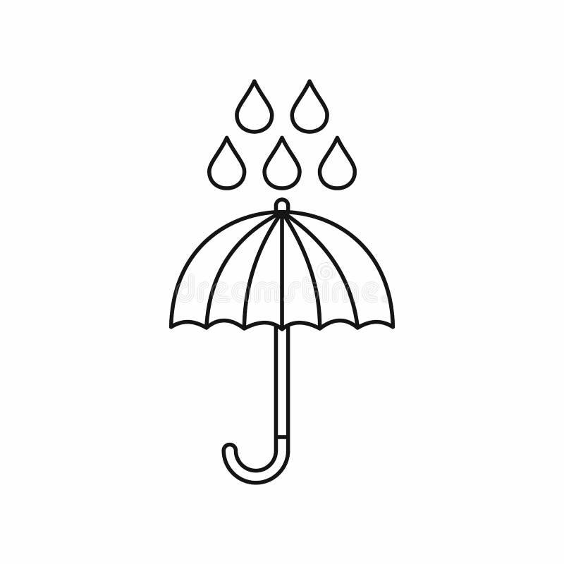 Ícone das gotas do guarda-chuva e da chuva, estilo do esboço ilustração stock