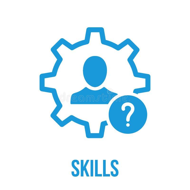 Ícone das habilidades com ponto de interrogação Ícone e ajuda das habilidades, como a, informação, símbolo da pergunta ilustração do vetor