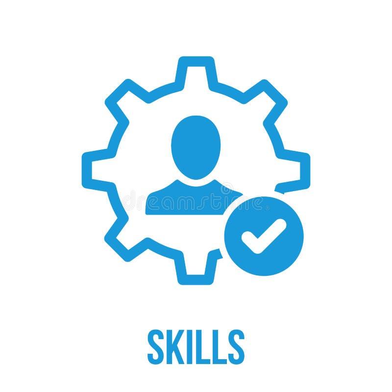 Ícone das habilidades com sinal da verificação O ícone das habilidades e aprovado, confirma, feito, tiquetaque, símbolo terminado ilustração do vetor