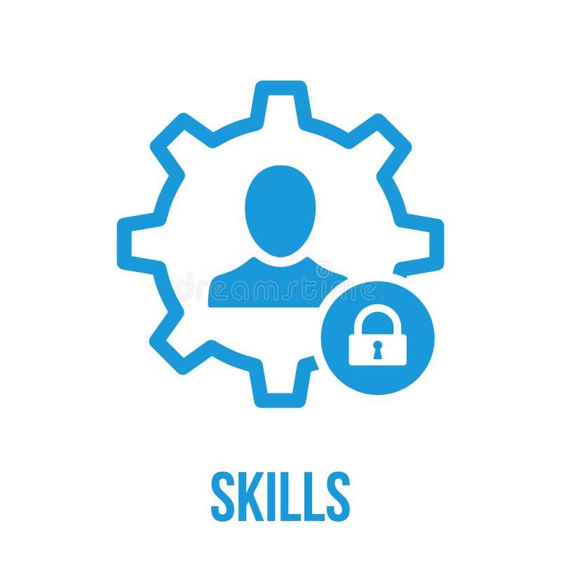 Ícone das habilidades com sinal do cadeado Ícone das habilidades e segurança, proteção, símbolo da privacidade ilustração stock