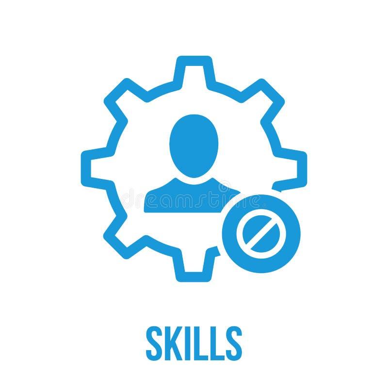Ícone das habilidades com sinal não permitido As habilidades ícone e bloco, proibidos, proibem o símbolo ilustração stock