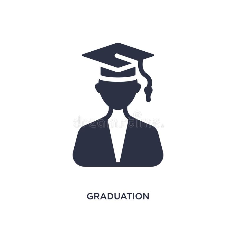 ícone das imagens da graduação no fundo branco Ilustração simples do elemento do conceito da educação ilustração royalty free