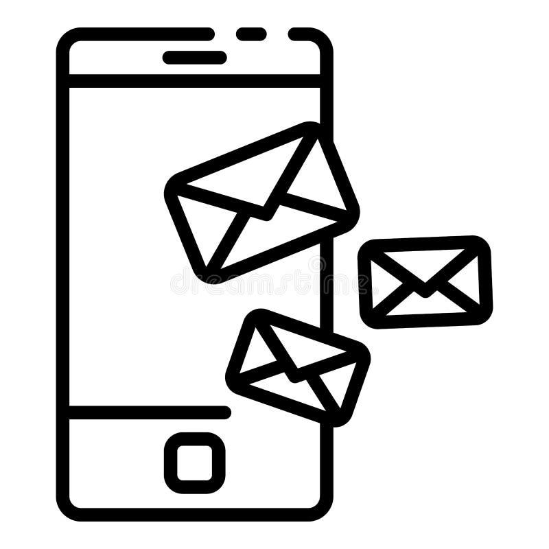 Ícone das letras do telefone, estilo do esboço ilustração royalty free