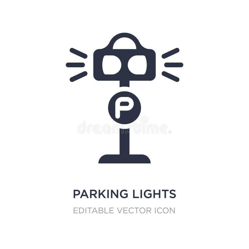 ícone das luzes de estacionamento no fundo branco Ilustração simples do elemento da arquitetura e do conceito da cidade ilustração royalty free