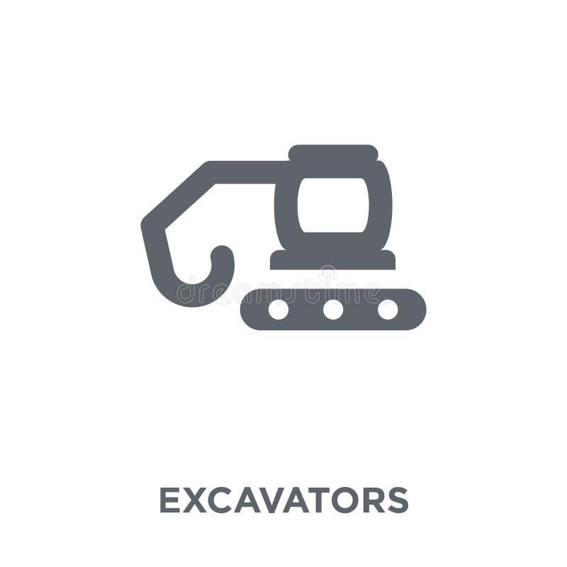 Ícone das máquinas escavadoras da coleção do transporte ilustração stock