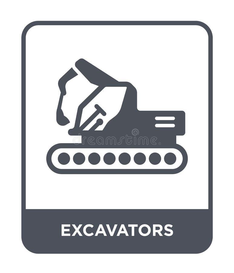 ícone das máquinas escavadoras no estilo na moda do projeto ícone das máquinas escavadoras isolado no fundo branco ícone do vetor ilustração royalty free